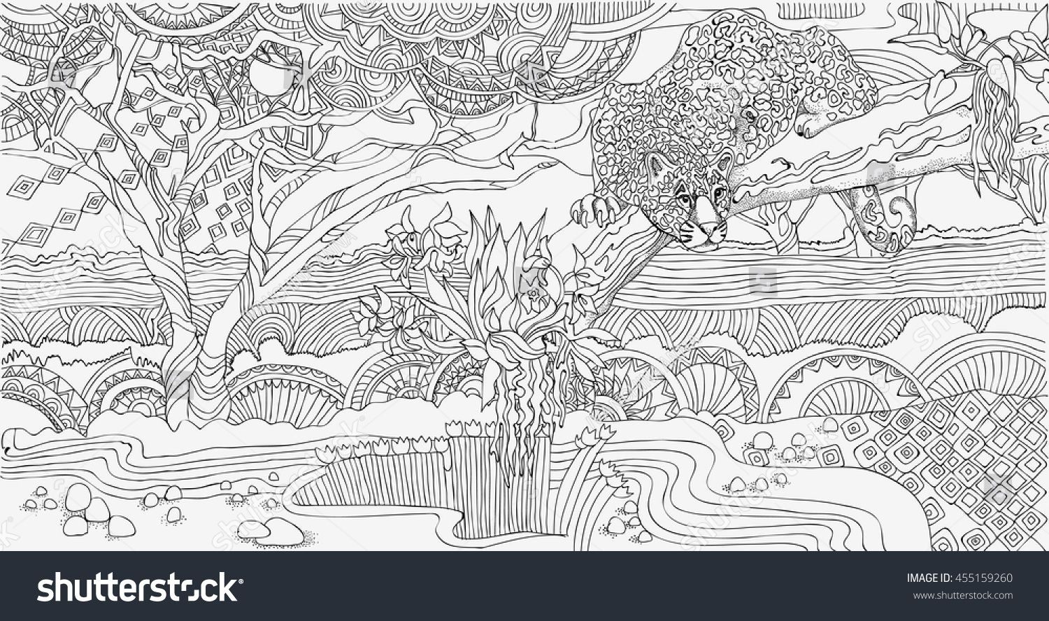 Coloring Pages Handsome African Landscape With A Cheetah Africa Wild Cat Kunstdruck Vektorgrafik Illustration