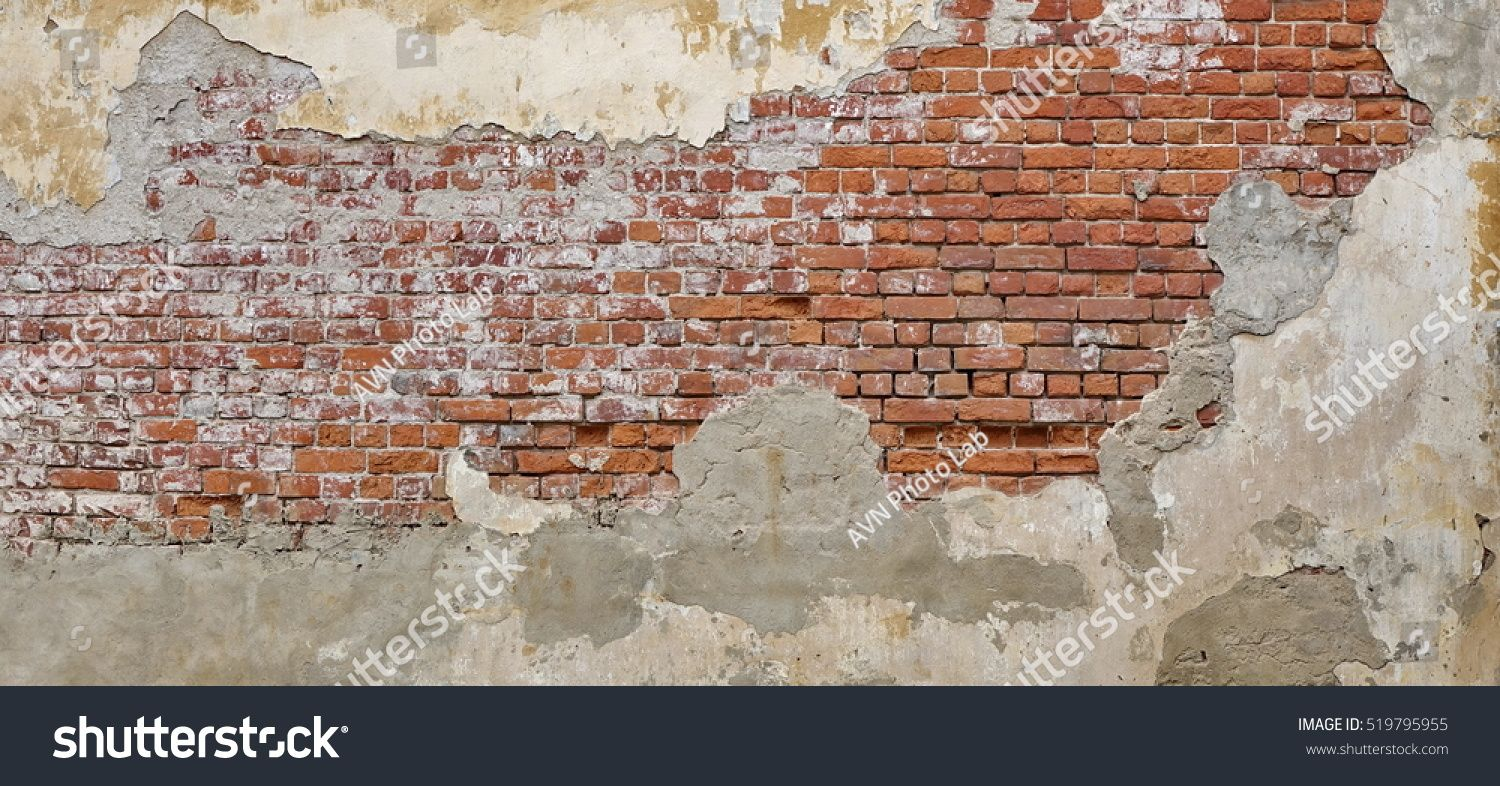 Empty Old Brick Wall Texture Painted Distressed Wall