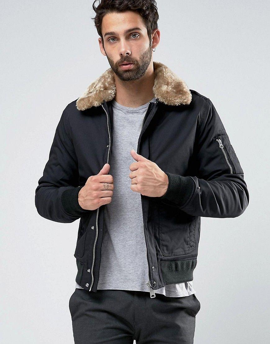 ff7633a1306 Schott Air Bomber Jacket Faux Fur Collar Exclusive | fashion | Mens ...