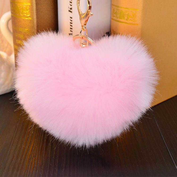 Keyring Soft Faux Fluffy Heart Rabbit Fur Handbag Pendant Charm PomPom Keychain