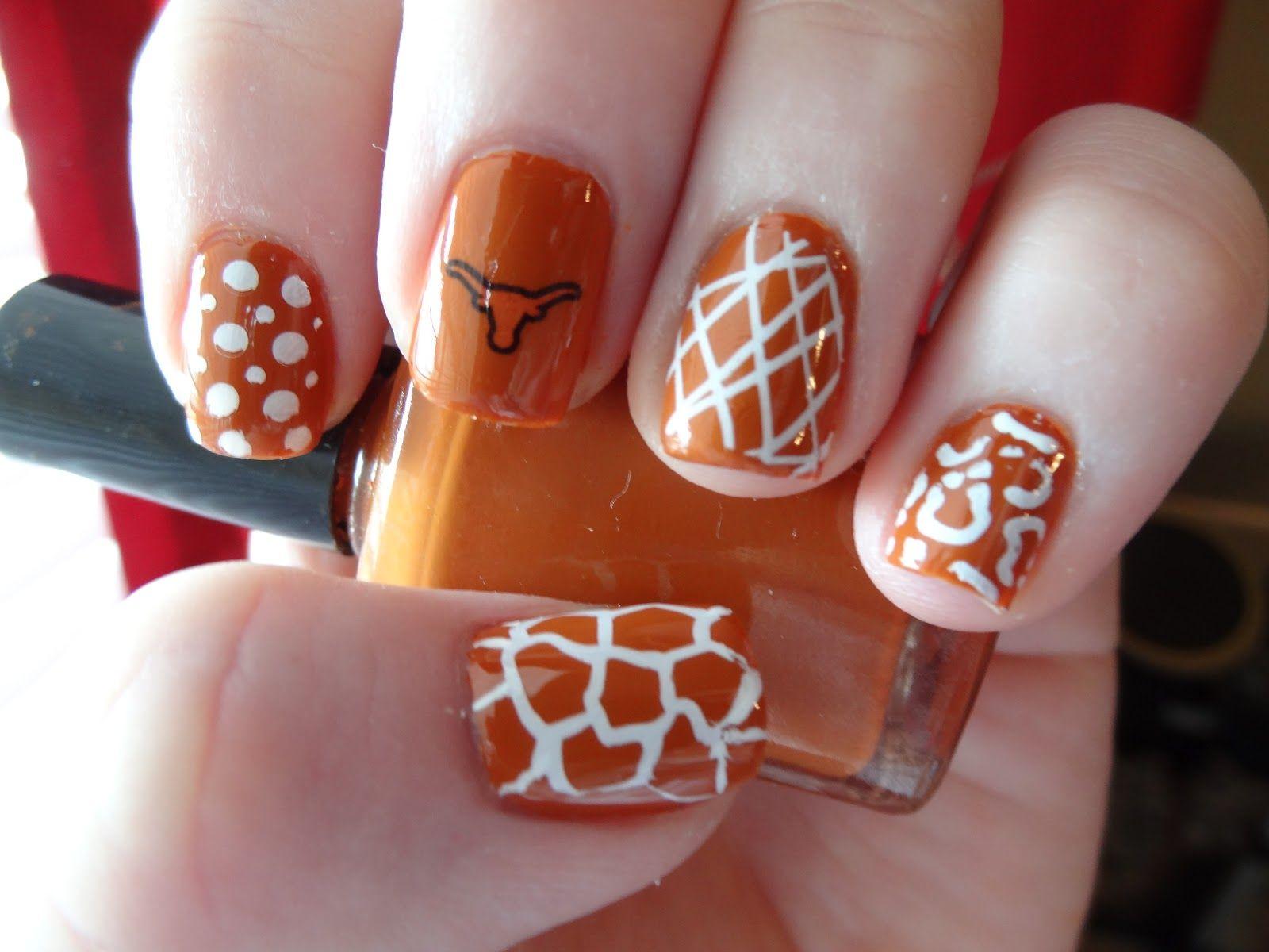 longhorn nail art - Google Search.. so cool doing football team ...