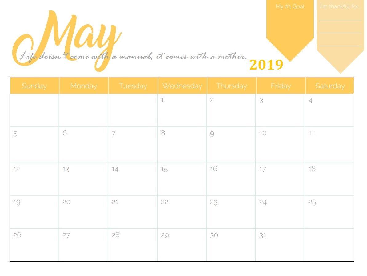Printable May Calendar Template