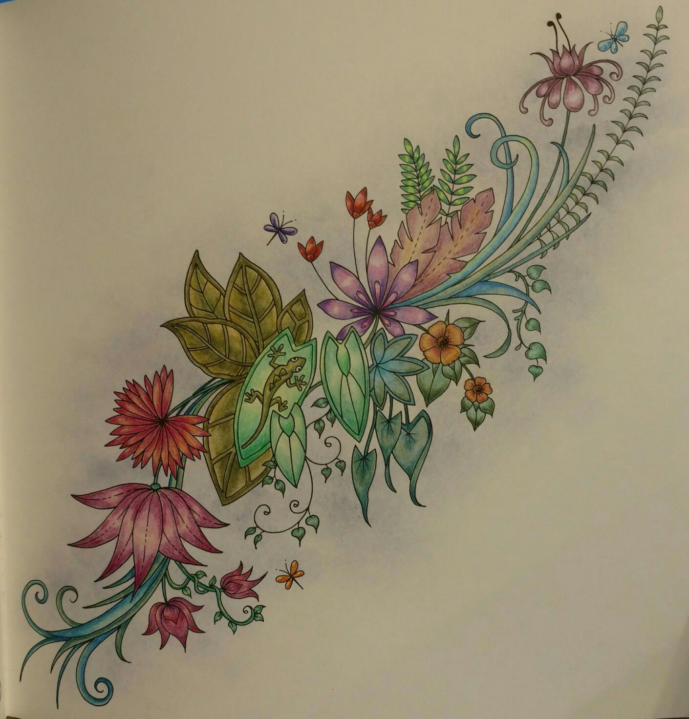 Magical Jungle Lizard And Flowers By Wendy