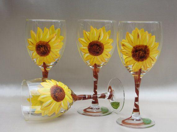 Hand painted Wine glasses Sunflowers set of 4 by HandpaintedByNina, $38.00