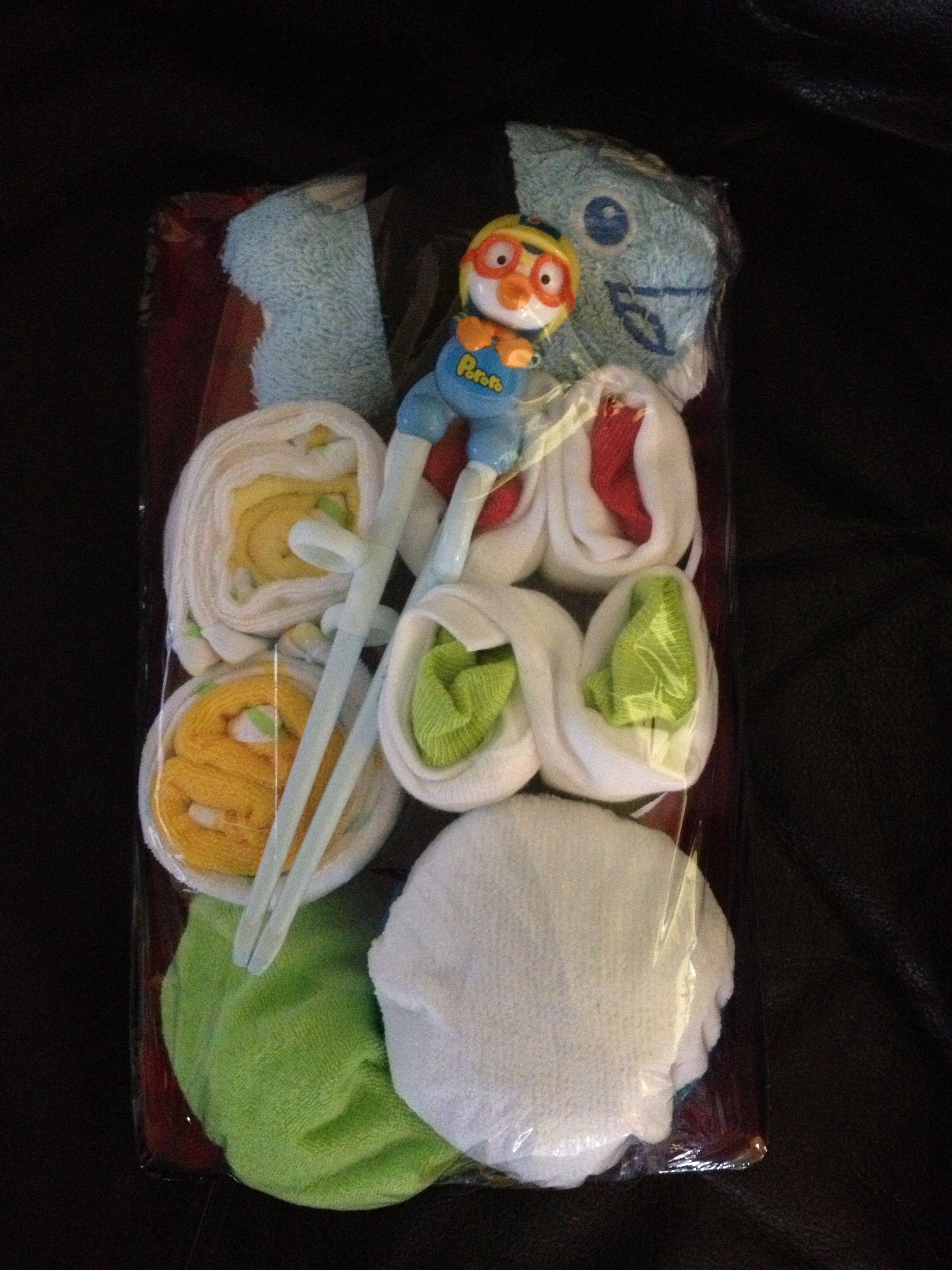 My sushi themed baby shower gift. Mahalo to tipjunkie and creative dollar for the ideas.