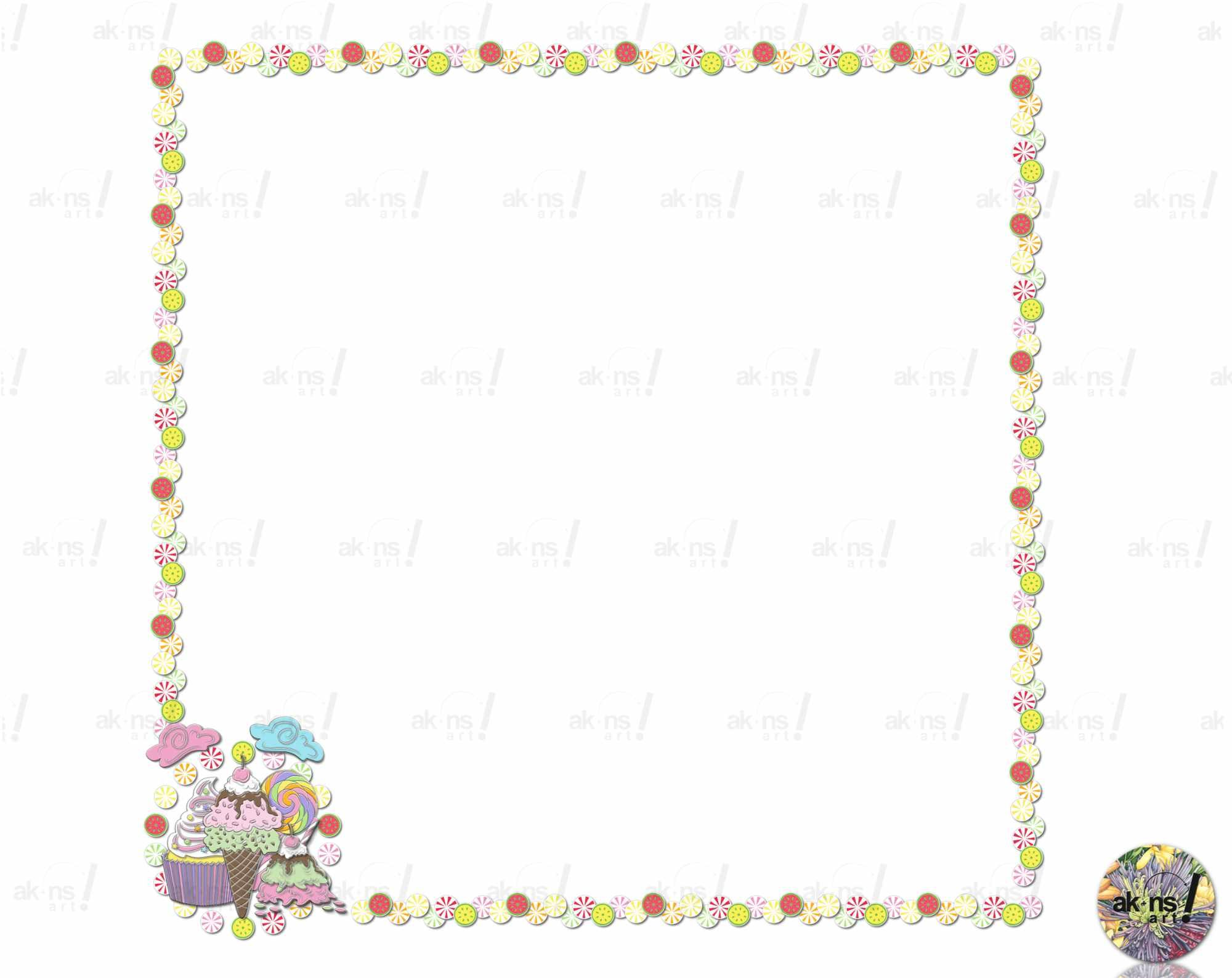 Sweet Candy Border Frame Ice Cream Cupcake Lollipop Candyland Etsy Digital Paper Free Sweet Candy Paper Frames