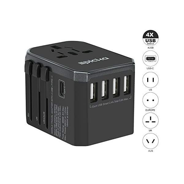 8021f9aae633a7 Universal Travel Power Adapter-All in One Worldwide International Wall  Charger AC Plug Adaptor with 5.6A Smart Power USB and 3.0A USB Type-C For  USA EU UK ...
