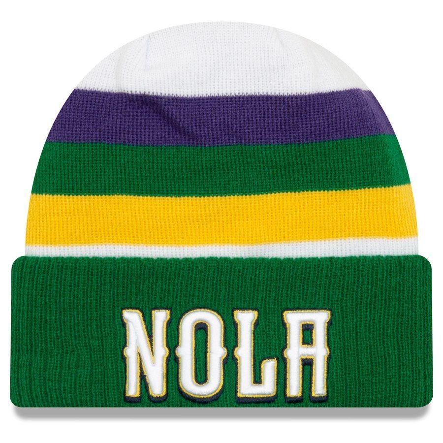 73c95fb6c2d Men s New Orleans Pelicans New Era White 2018 City Edition Cuffed Knit Hat