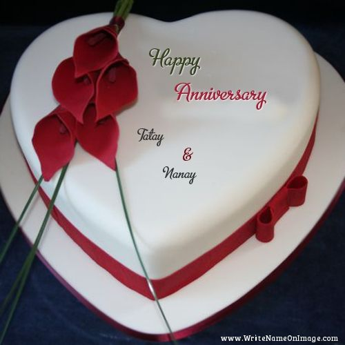 Happy Anniversary wishes cake with flower design