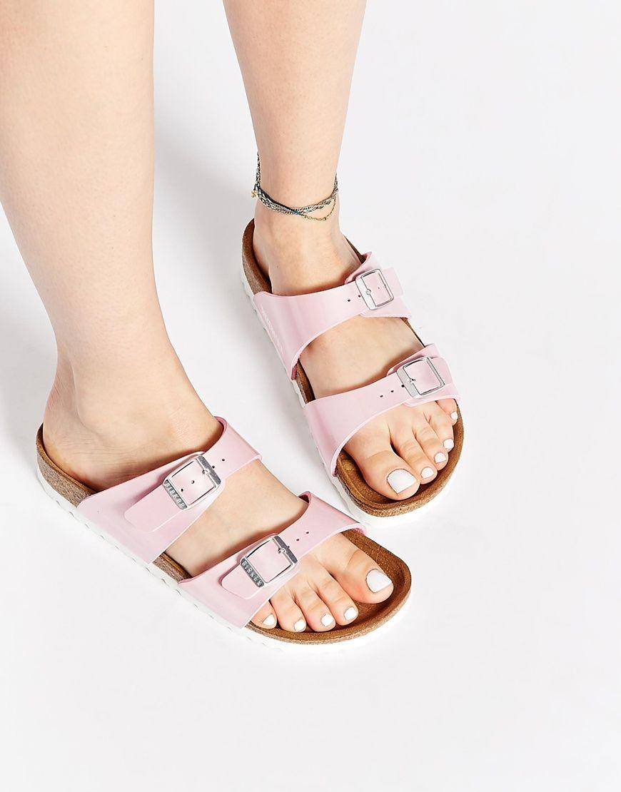 fe27c9e7920 Image 1 of Birkenstock Sydney Pearly Rose Slider Narrow Fit Flat Sandals