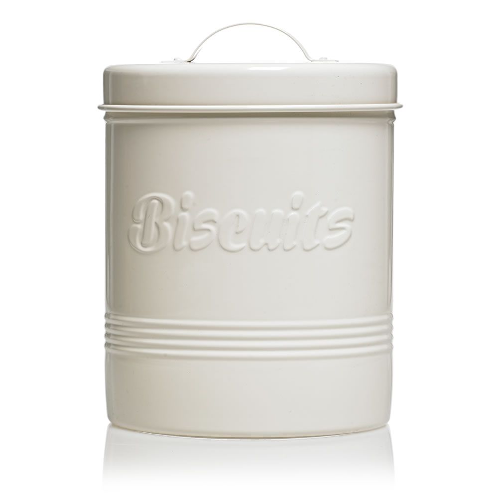 Wilko Retro Biscuit Canister Cream White Coffee Canister