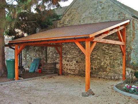 Abri Voiture 1 Pente 3 00mx4 00m Cerisier Abris De Jardin En Bois Carport Designs Pergola Carport Backyard Patio Designs