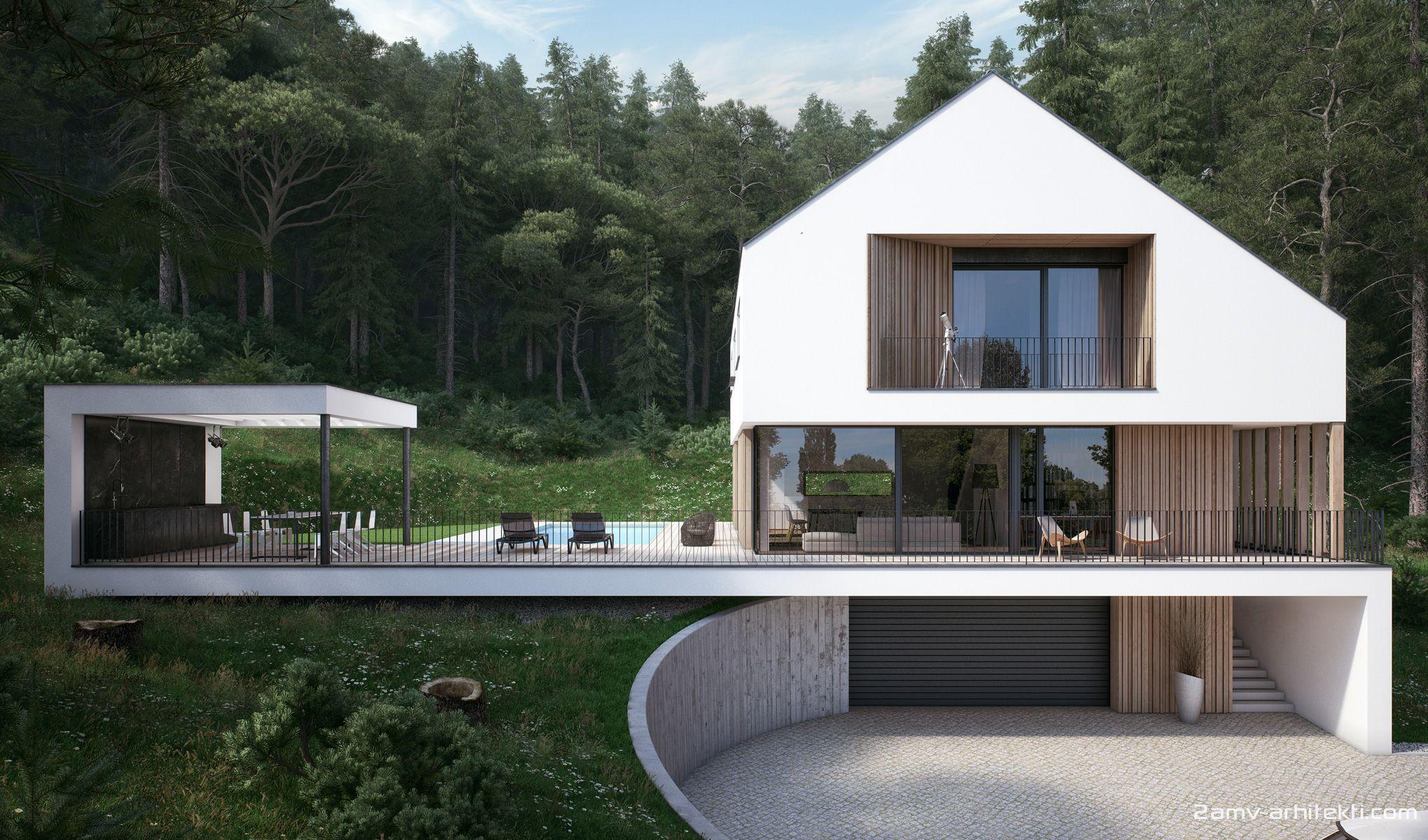 Minimalisticna Sodobna Druzinska Hisa Dgd Strm Teren Montazna Gradnja Xlam Is Part Of Architectu Modern Style House Plans Architecture House Architecture