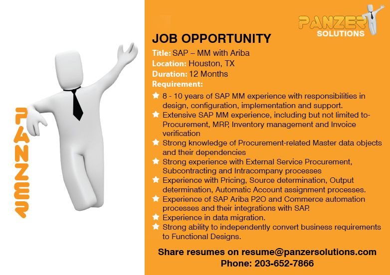 Sap mm with ariba job opportunities business analyst