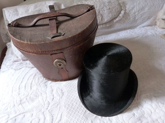 Antique French Beaver Top Hat Gibus W Traveling Hat Box Black Etsy Antique Hats Hat Box Top Hat