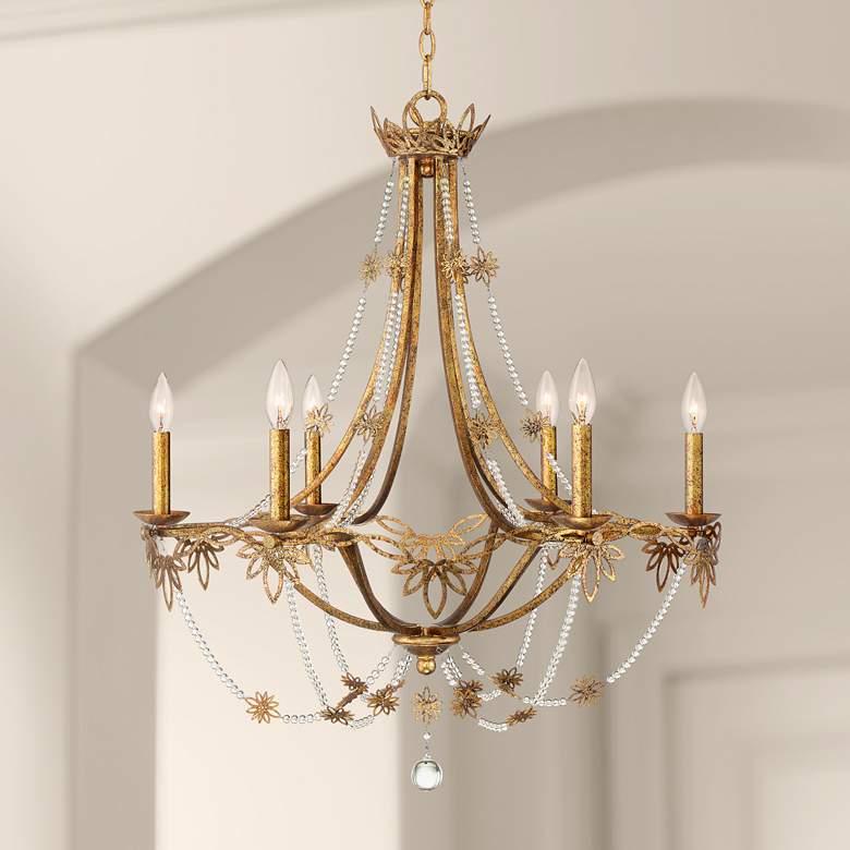 Kathy Ireland Sarai 28 1 4 W 6 Light Antique Gold Chandelier 63j93 Lamps Plus Gold Chandelier Bedroom Gold Chandelier Chandelier