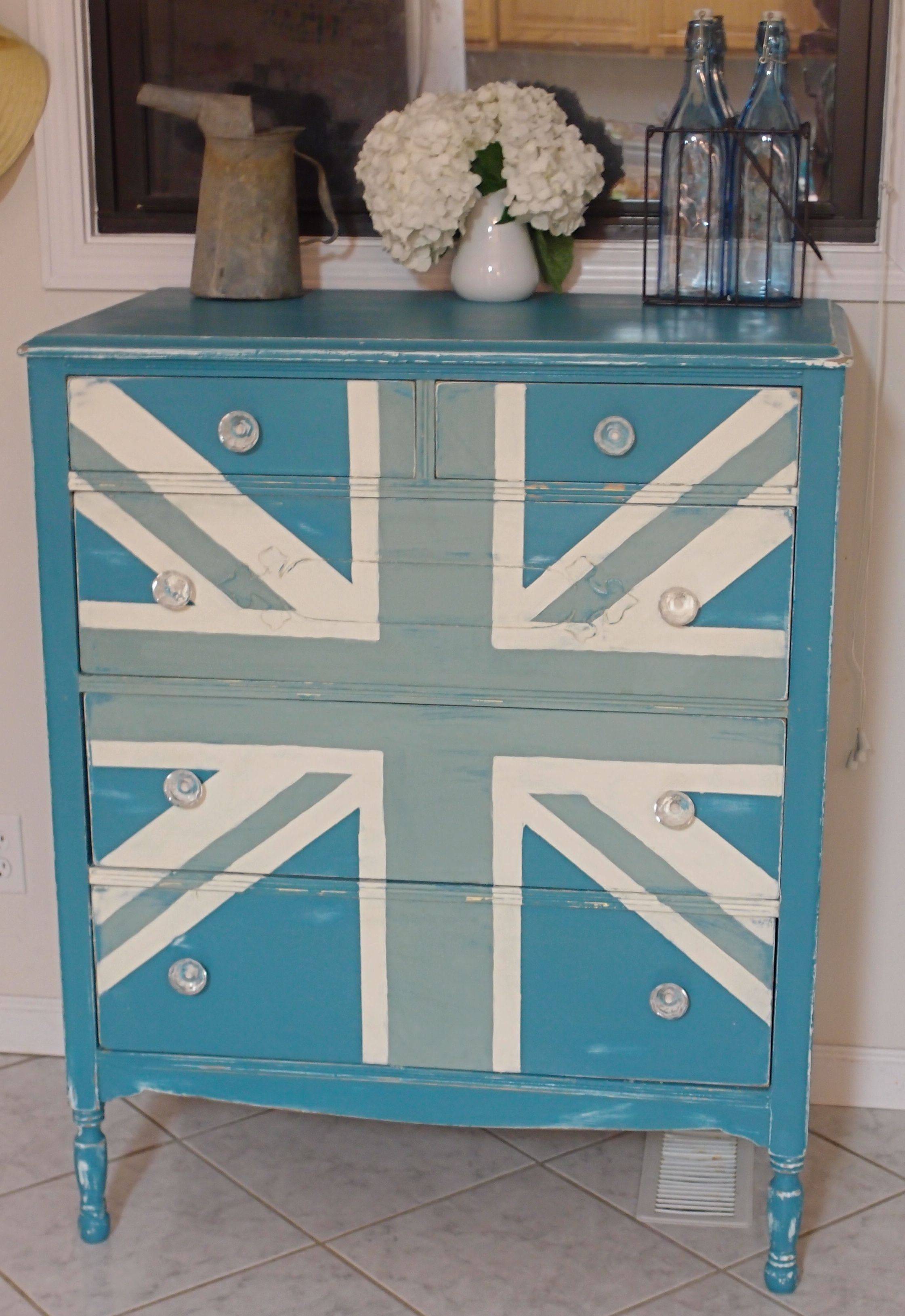union jack furniture. Duck Egg Blue And Old White Union Jack Dresser (teal Color Was Already There, But I\u0027d Use Provence If I Started From Scratch) Furniture