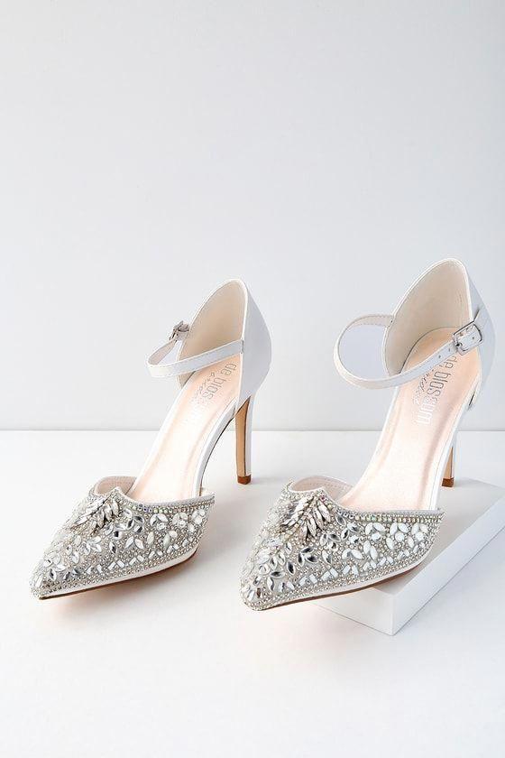 ce7e7f572cb Adeline White Rhinestone Ankle Strap Heels 7  StilettoHeels