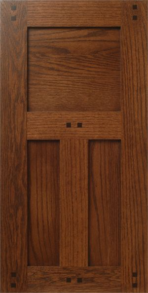 Craftsman Style Red Oak Wood Cabinet Door With Pegs Buttons