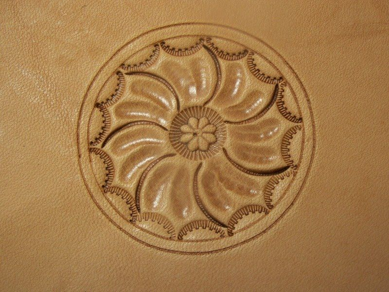 Leather carving while i was working on the first pattern