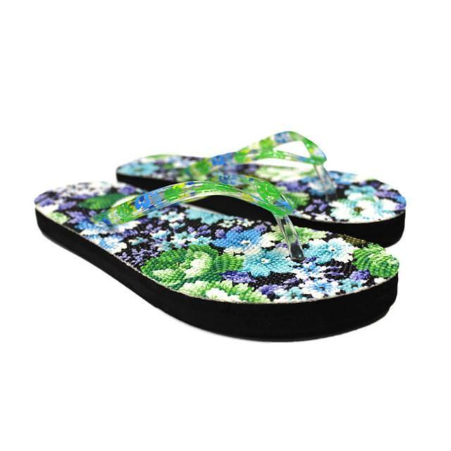 dd2b9ac7e37452 Slippers Women Flowers Sandal Home Toepost Flip Flops Slippers Beach Shoes  New Hot Sale Female Casual Flat Tongs Femme ete