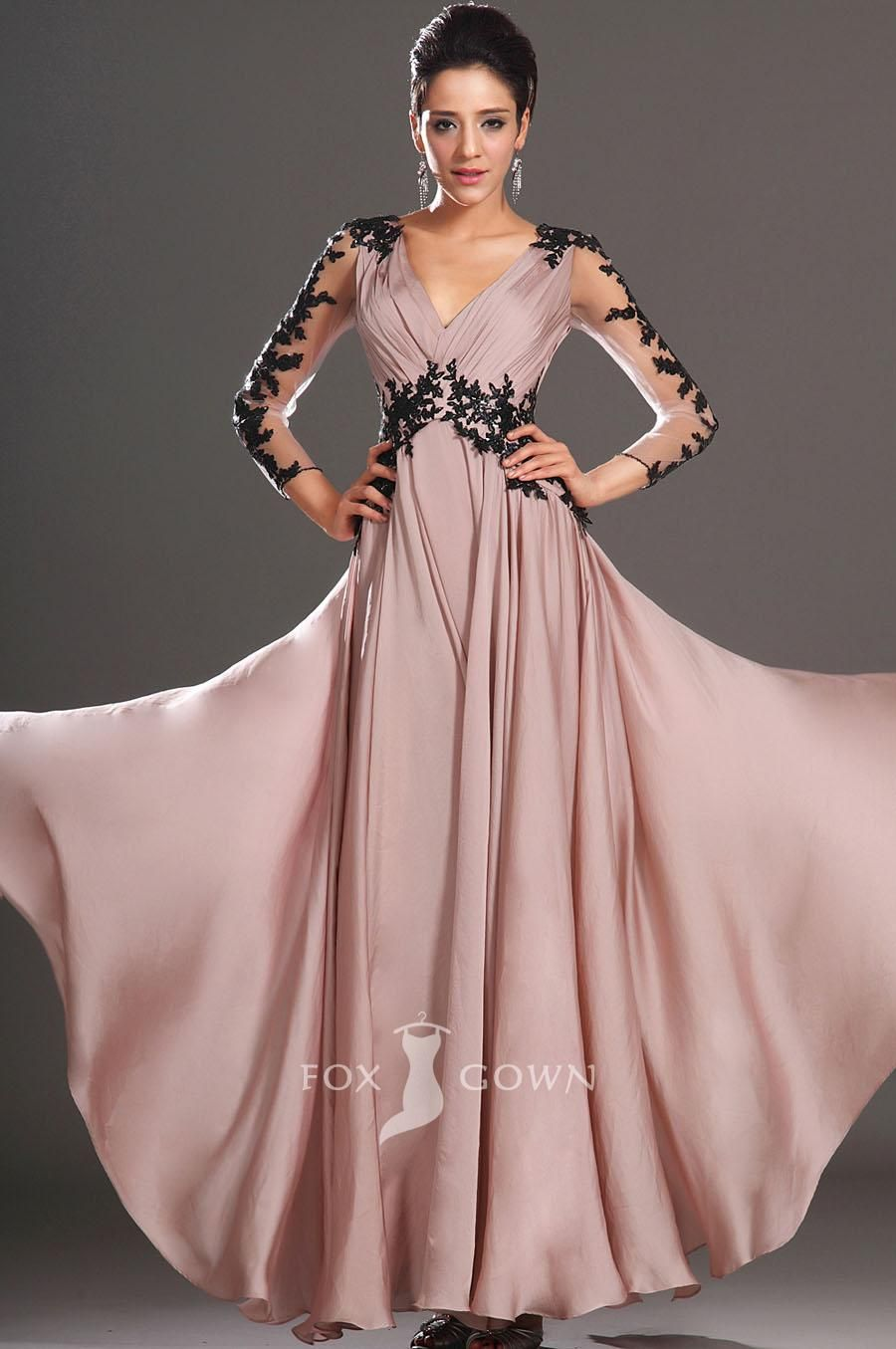 embroidered sheer long sleeve a-line long v-neck prom dress ...