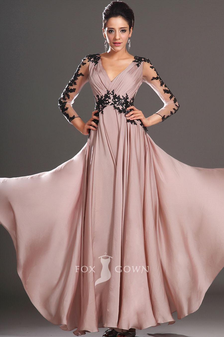 Embroidered sheer long sleeve aline long vneck prom dress formal