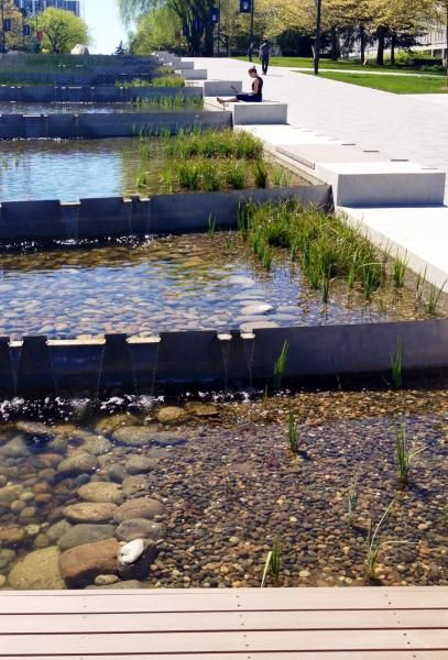 The Soothing Sound Of Water Flowing Down University Boulevard Is A Welcome Distraction Water Architecture Landscape And Urbanism Landscape Architecture Design