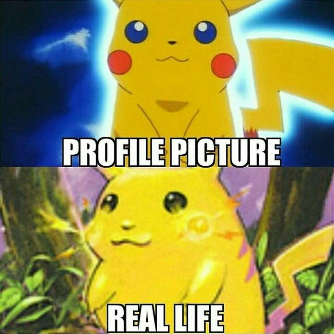 Pikachu hahaha Profile Picture vs. Real Life Funny memes