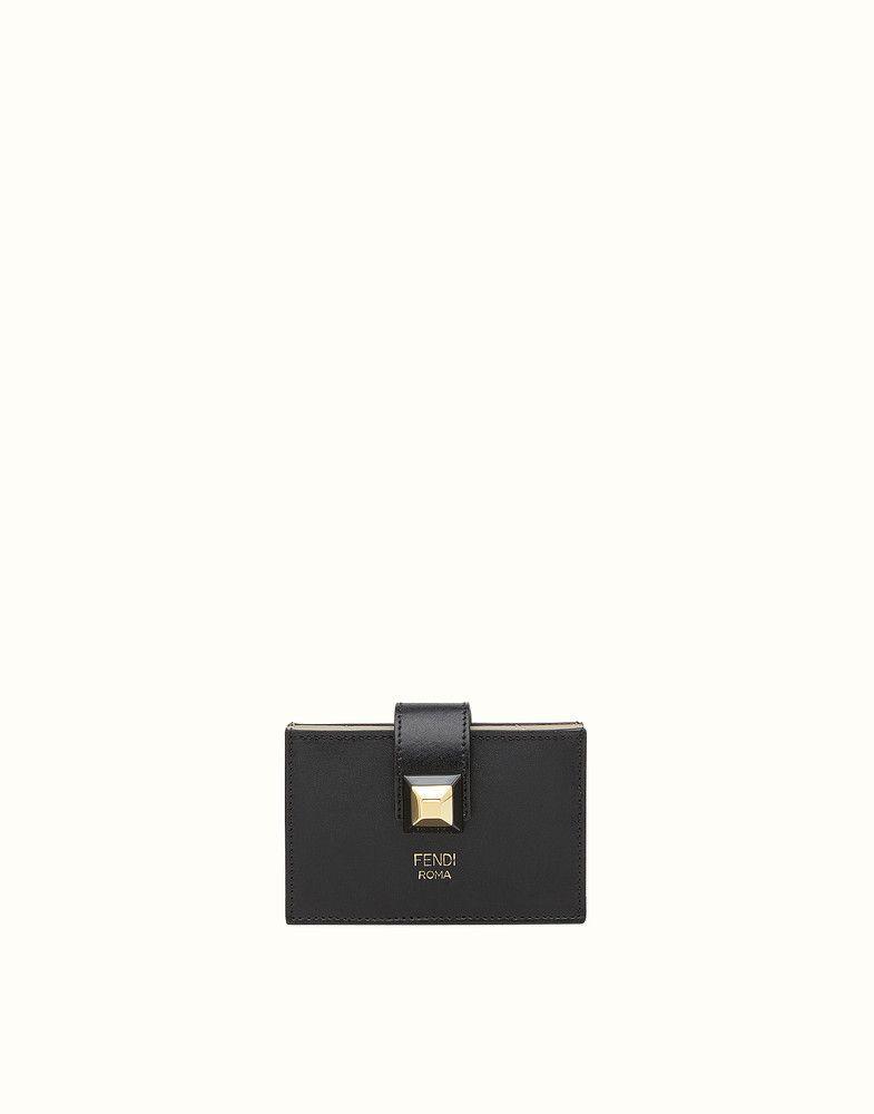 Fendi card holder gusseted bag in black leather fendi