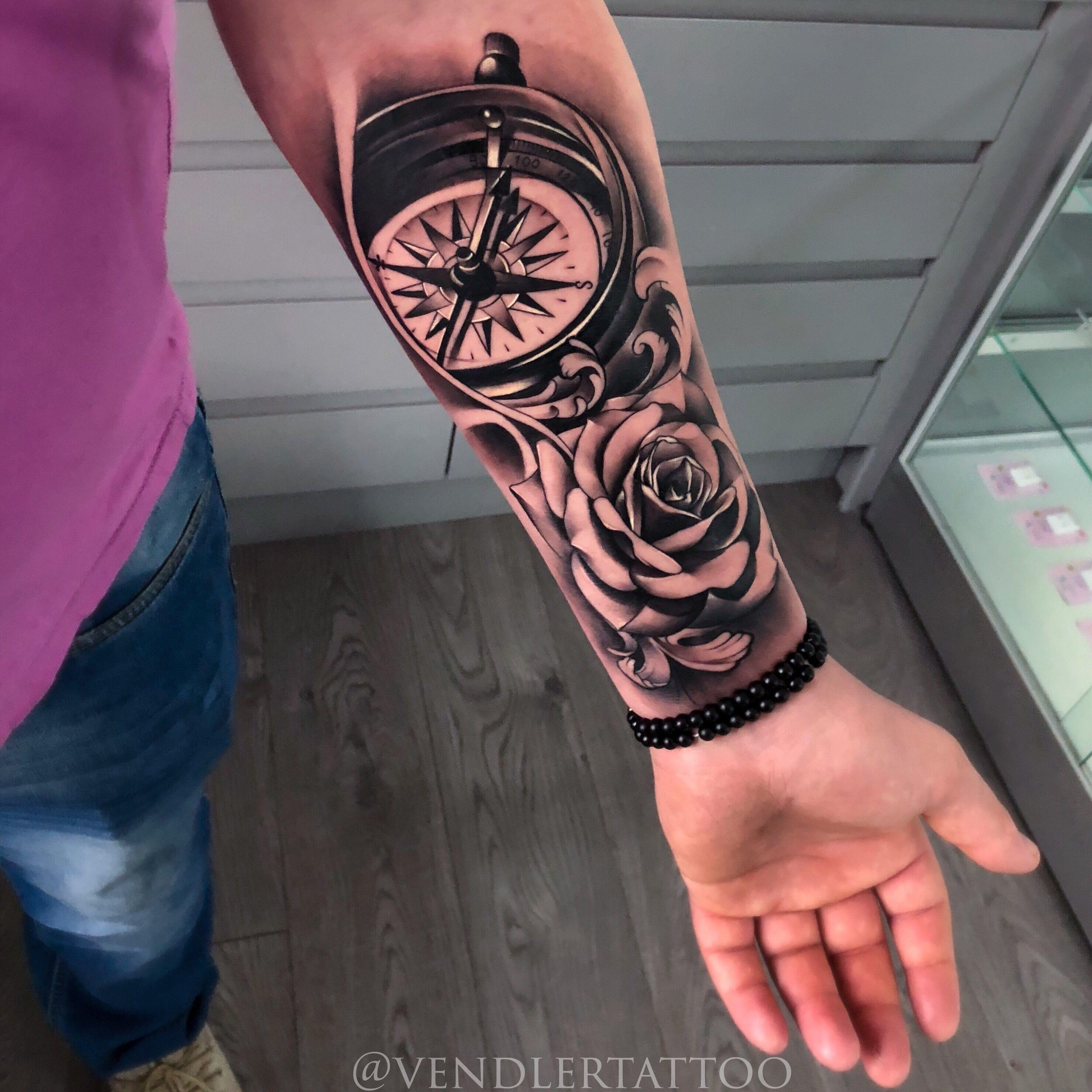 Mens Sleeve Tattoos Rose Tattoo Compass Tattoo Tattoo Design Tinytattoos Rose Tattoo Sleeve Half Sleeve Tattoo Rose Tattoos For Men