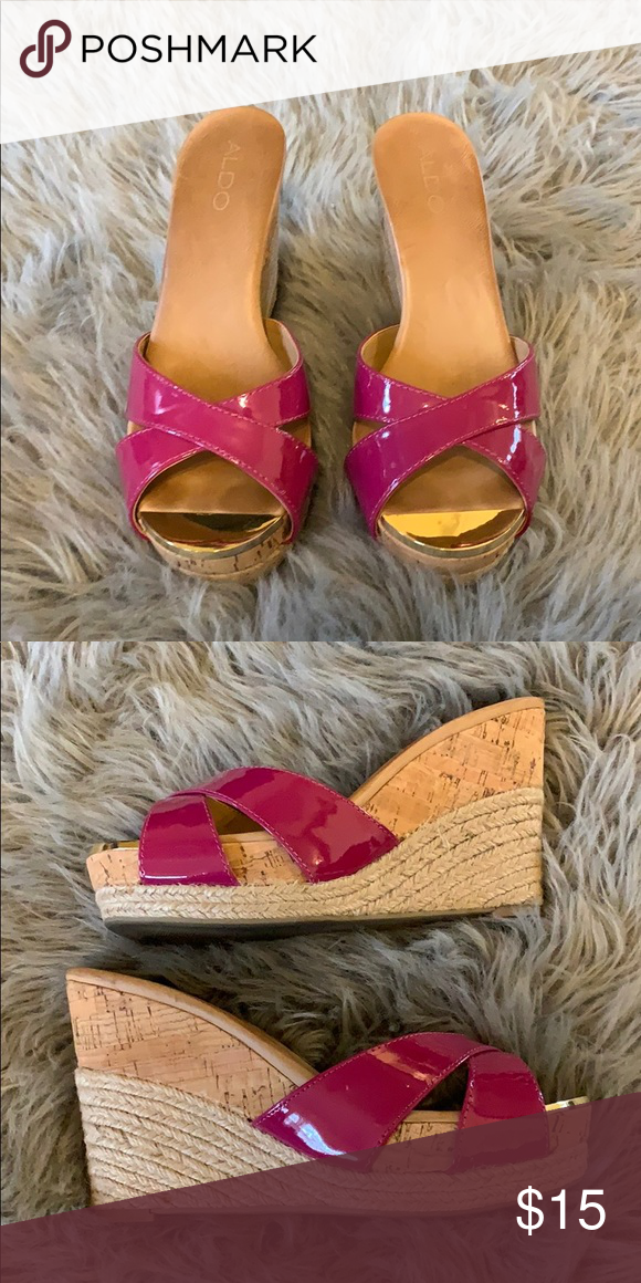b6ecf16885 Wedge sandals Wedge sandals with magenta colored straps and cork heels Aldo  Shoes Wedges