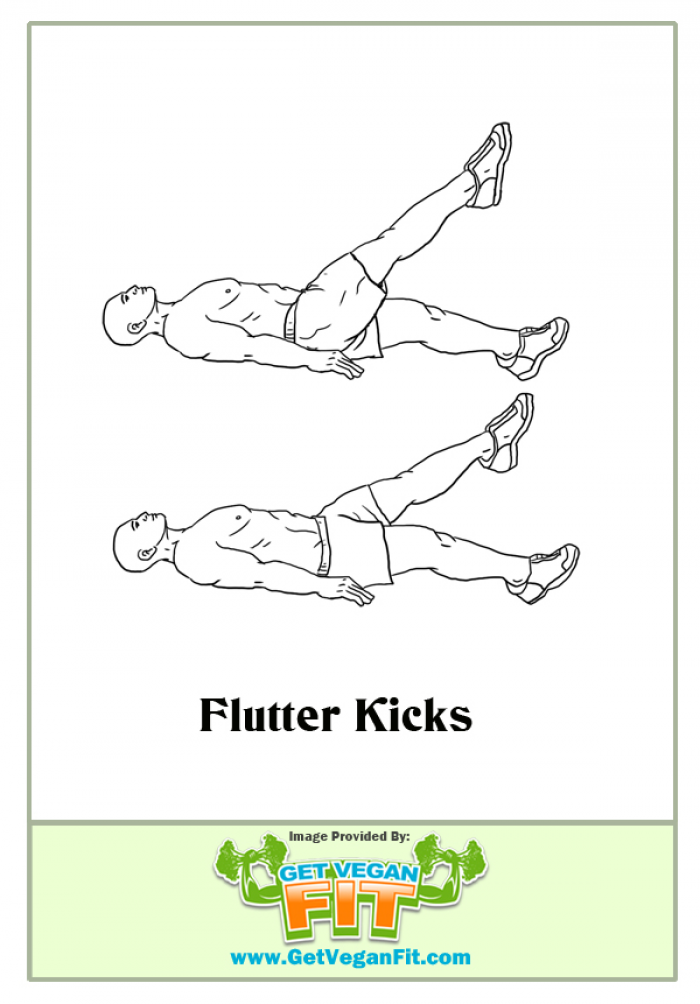 Flutter Kicks - Abdominal Exercise Illustration - Six Pack ...