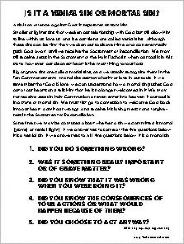 Mortal And Venial Sin Worksheet : mortal, venial, worksheet, Catholic