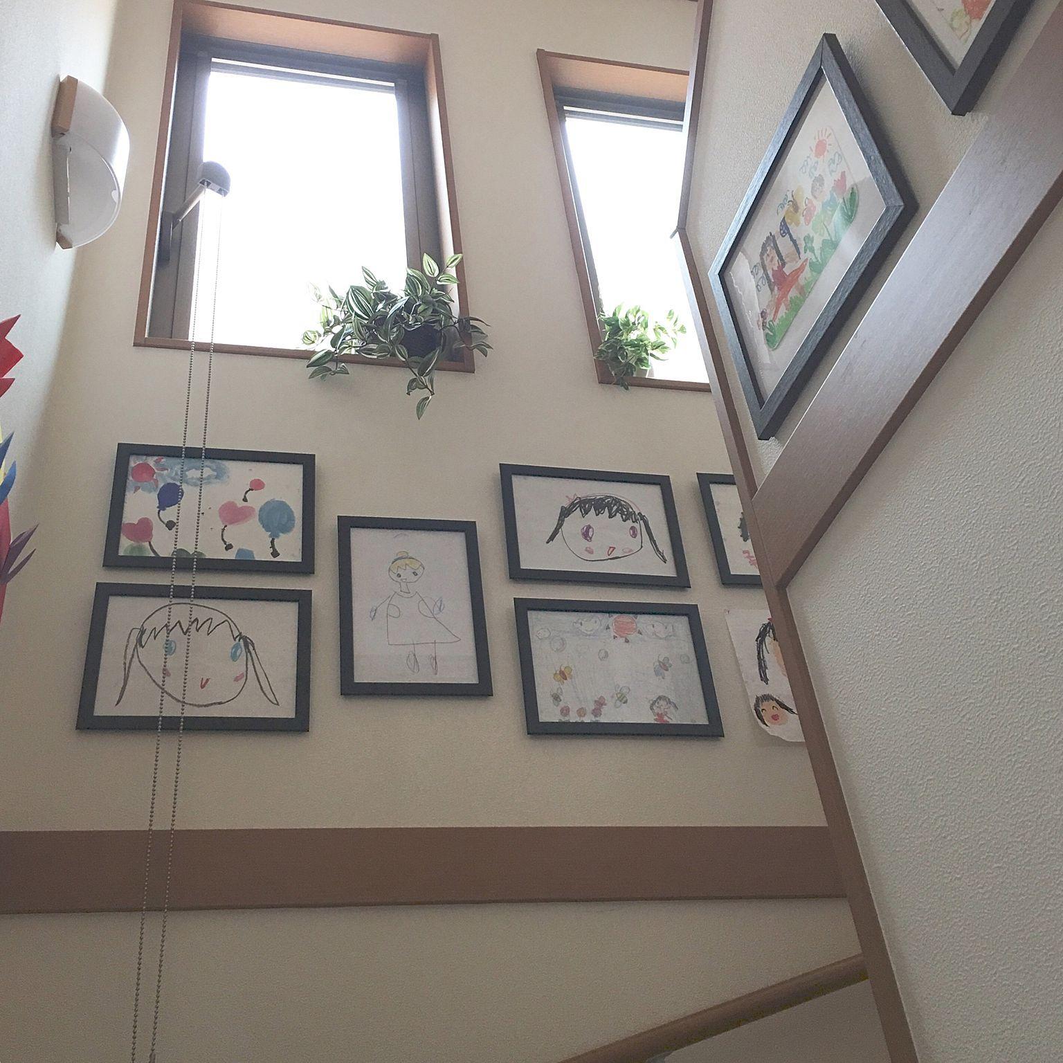 壁 天井 子供の絵を飾る 壁面ディスプレイ 子供の作品 子供がいる家