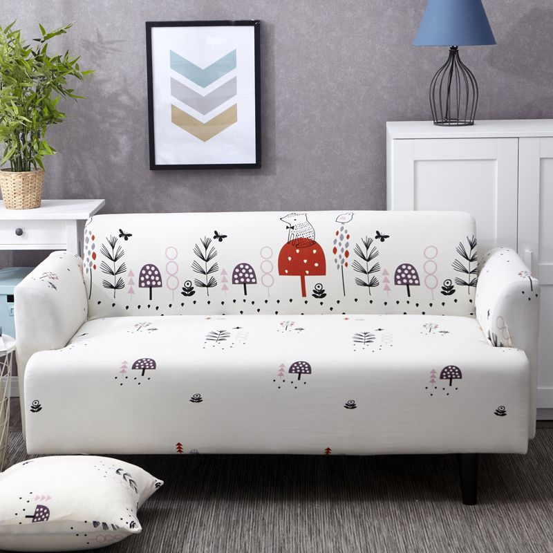 20 47 White Sofa Cover Print With Lovely Cartoon Hedgehog Elastic And Reversible Suitable For Single Double Three Four Simple Sofa Sofa Covers Couch Covers