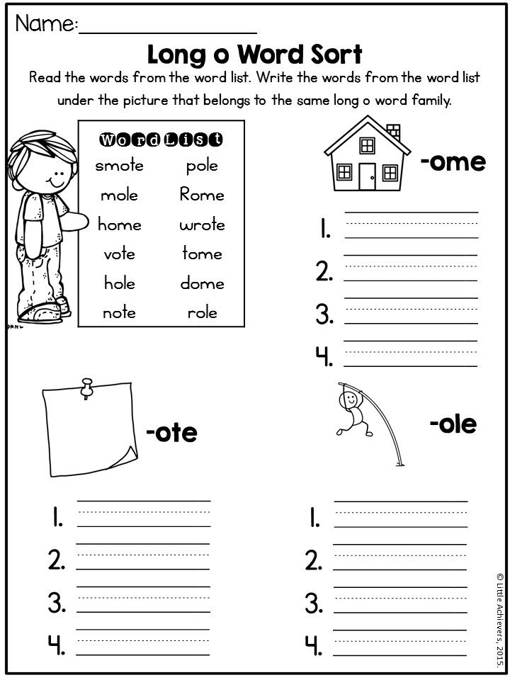 Long Vowel Worksheets (CVCE Worksheets) - Long O ...