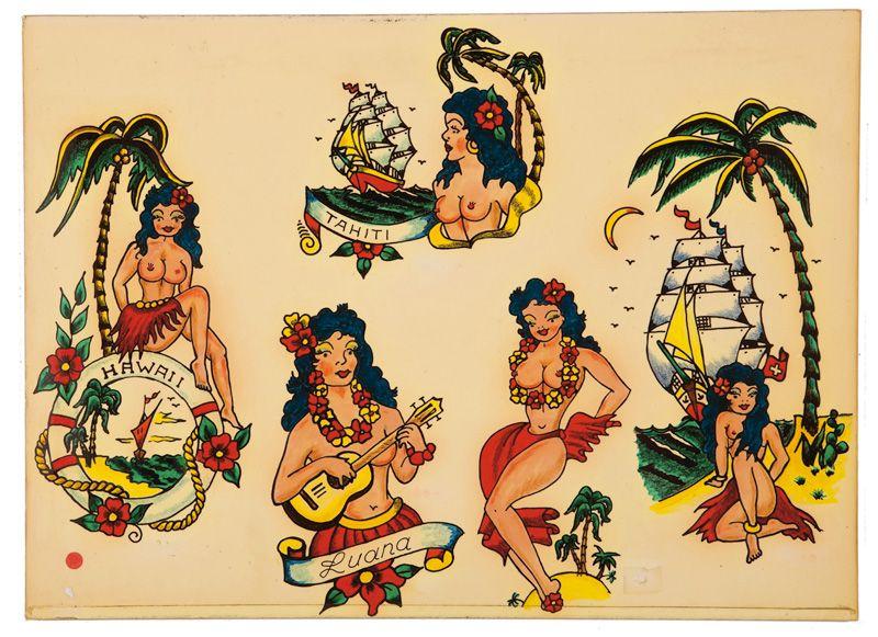 534b7d13fc115 Hula girls tattoo design every sailor want … | a bunch of shit | Hula …