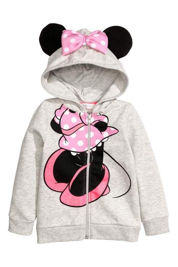 dec9b7606 H M H   M - Hooded Jacket with Appliques - Gray melange Minnie Mouse ...