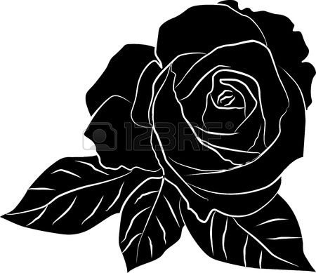 Black Rose Silhouette Freehand Vector Illustration Black Rose Black Flowers Tattoo Rose Illustration