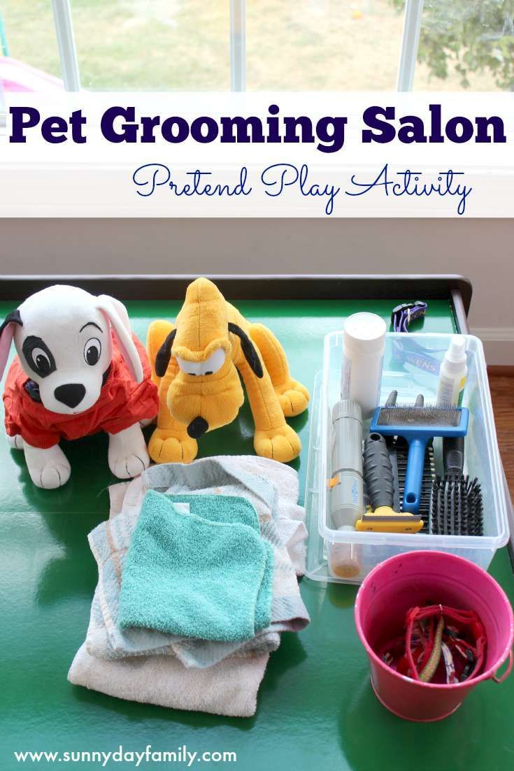 Pet grooming salon pretend play activity for preschoolers for A family pet salon
