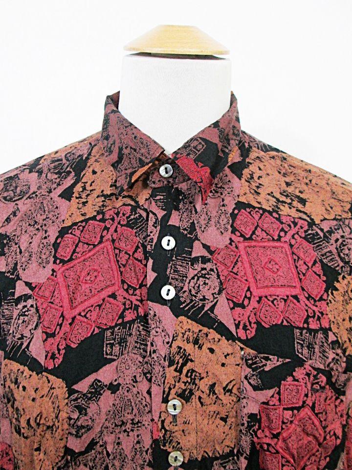 Vintage 1990s Psychedelic Crazy Print Renaissance Dandy Pattern Shirt XL