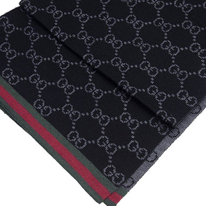 a975e7c97 Gucci Mens Wool Monogram GG Black Scarf With Green Red Web Design #Gucci  #Scarf
