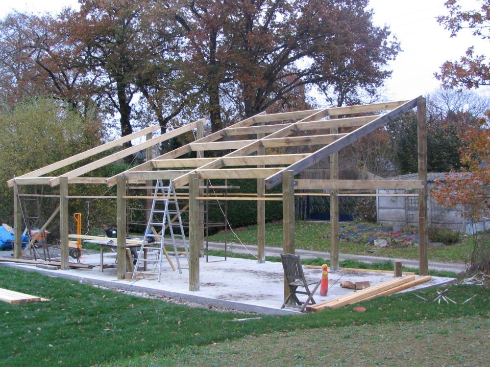 Construire Un Garage En Bois Construction D Hangar 4 7m X 10m Avec Images Construire Un Garage Garage Bois Hangar Agricole