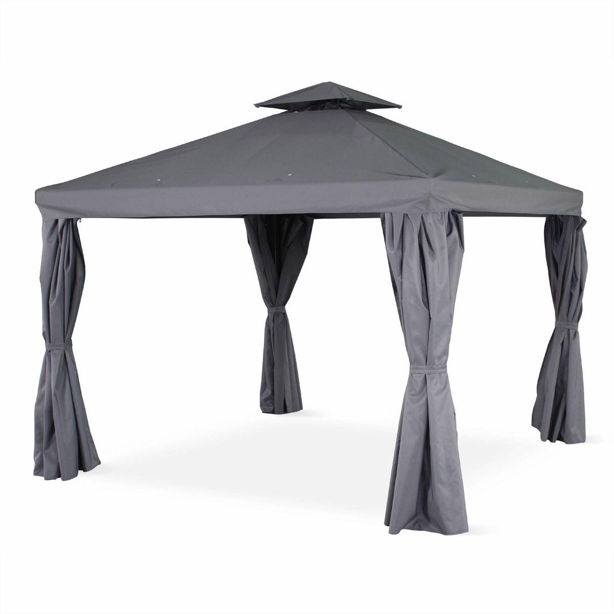 Systeme De Rideau Coulissant tente de jardin, pergola aluminium 3x3m divodorum , avec