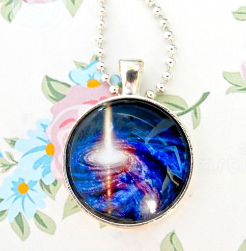 """The pendant comes with a silver plated ball chain that measures 26"""" long approx.  The glass cabochons are set in a silver tone pendant tray setting  It is always recommended, that the pendant be removed prior to bathing or swimming.  Pendant size: 1"""""""
