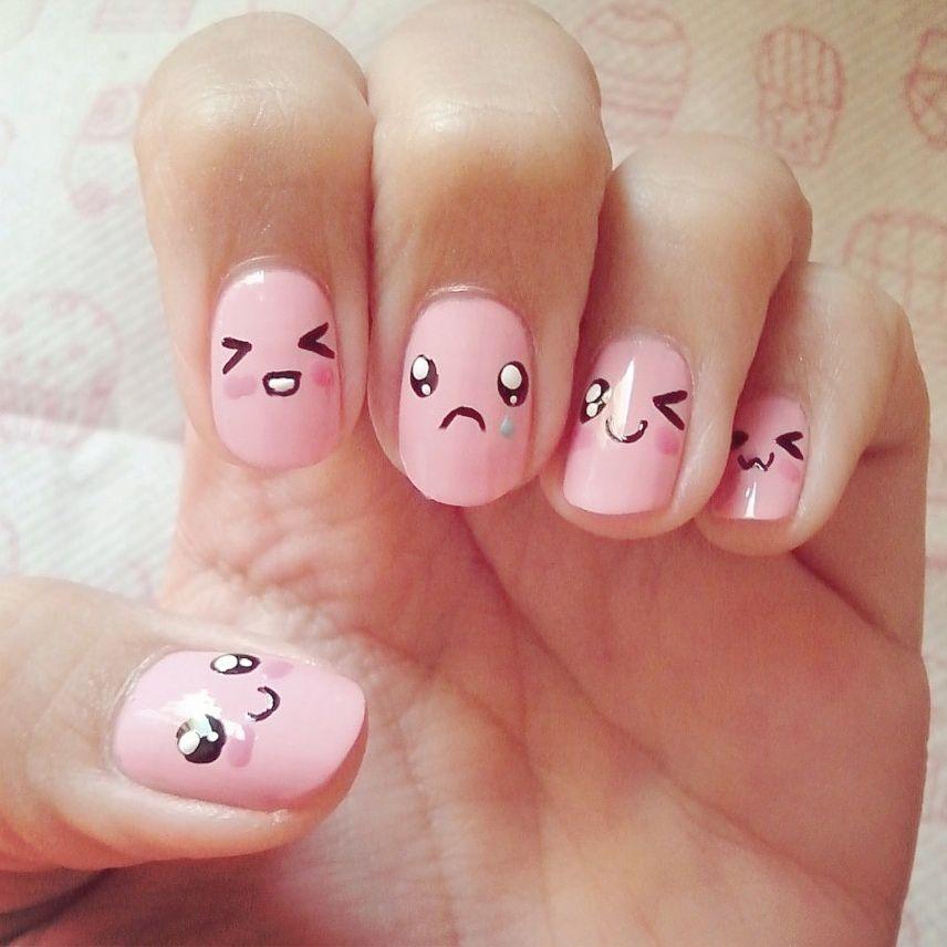 Kawaii Emoticons Nails! #nails #nailart #cute #kawaii #vanillavice ...