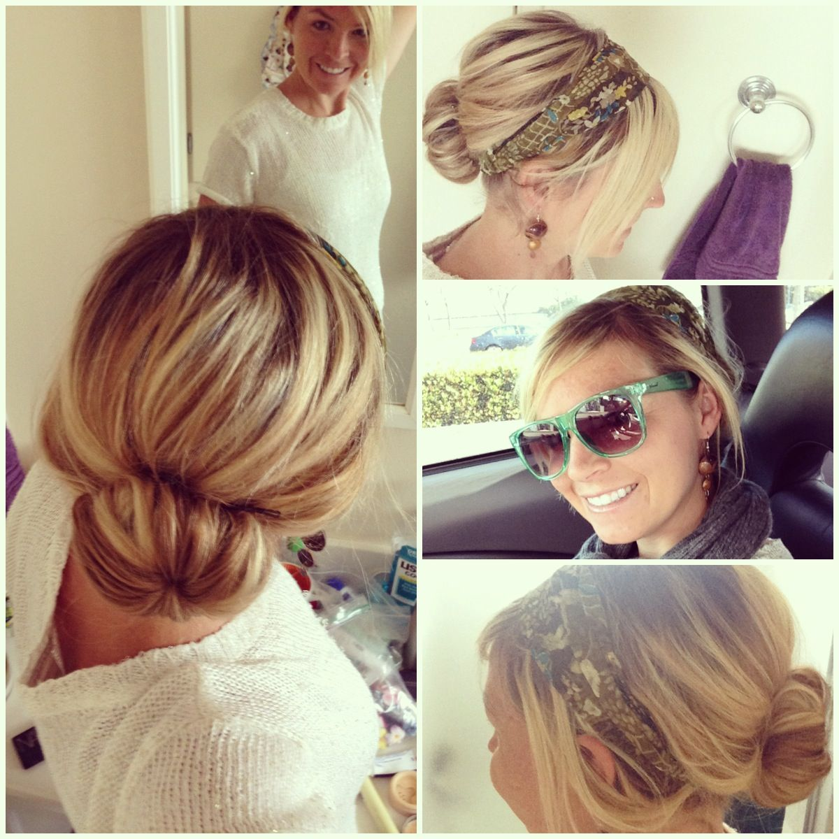 day off. sock bun and headband. | flight attendant hairstyles