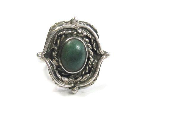 Vintage Navajo Green Turquoise Ring Sterling by BejeweledEmporium