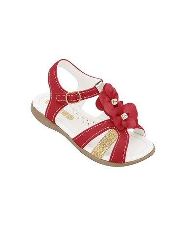 Sandália Vermelha e Dourada